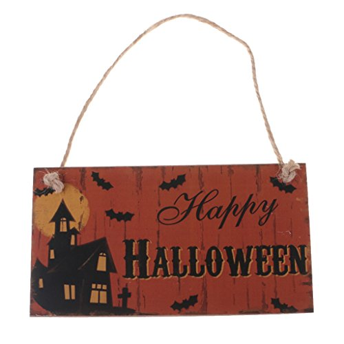 MagiDeal Halloween Tür-Schilder aus Holz mit Kordel zum Aufhängen - Türhänger Wandschild Türschild Dekoration - für Halloween Thanksgiving Erntedankfest Party - Happy, 20 x 10.5cm (Halloween Dekoration Schilder)