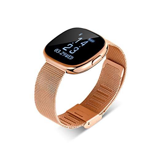 XXH Smart Armband Herzfrequenz Blutdruck Sport Armband Bluetooth Stepback Sport Armband smart-Watch (Farbe : Gold) Smart Talk Bluetooth