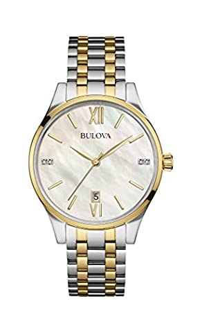 Bulova Diamond Women's Quartz Watch with Mother of Pearl Dial Analogue Display and Two Tone Stainless Steel Gold Plated Bracelet