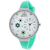 Orologio Donna, Think Positive, Modello SE W112 Flowers Large Acciaio, Cinturino Di Silicone, Orologio Analogico Fashion, Verde Acqua