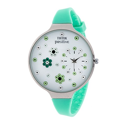 ladies-think-positiver-modell-se-w112-blumen-grosse-stahlband-silikon-farbe-aquamarin