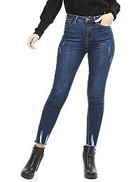 La Modeuse Jeans femme coupe slim avec finitions effilochées aux chevilles