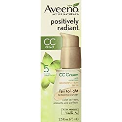 AVEENO Active Naturals Positively Radiant CC Cream Spectrum SPF 30 Fair to Light 2.50 oz (Pack of 1)