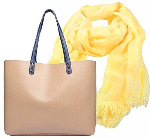 Shopper Tasche, City Damenhandtasche, absolut im Trend, als Geschenk- Set, Damen Schal gelb mit Fransen aus Modal mit hohem Tragekomfort - Schal-geschenk-set