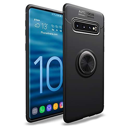 NALIA Ring Hülle kompatibel mit Samsung Galaxy S10, Schutzhülle Cover magnetische Silikon Handyhülle für KFZ-Halterung 360-Grad Finger-Halter, Dünnes Case Ständer Slim Etui Bumper, Farbe:Schwarz