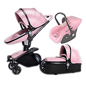 Radiancy Inc Baby Stroller 3 in 1 Travel System with with Infant Car Seat, Carrycot and Pushchair, Lightweight Folding Buggy Aluminum Alloy Frame,Waterproof Rainproof,Full Tire,Pink   13