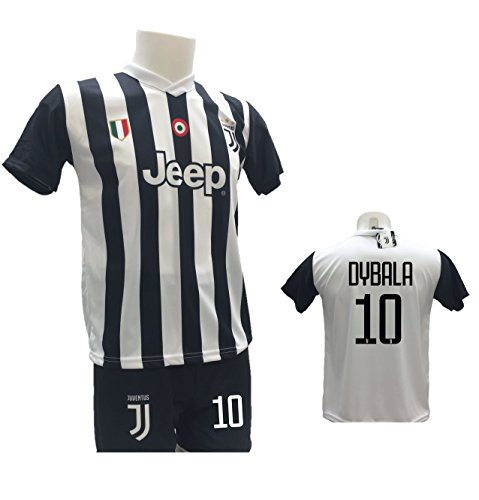 Completo calcio maglia dybala 10 juventus + pantaloncino con numero 10 stampato replica autorizzata 2017-2018 bambino (taglie 2 4 6 8 10 12) adulto (s m l xl) (s)