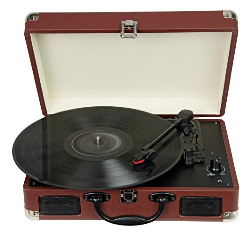 Direct Music 3 Speed Portable Retro Vinyl Turntable | Built-in Speakers with USB Encoded Recording (Brown)