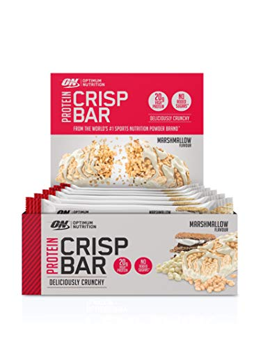 Optimum Nutrition Protein Crisp Bar- Protein Riegel (mit 20g Eiweiß [enthält Whey Isolate],  Proteinriegel von ON) Marshmallow, 1er Pack (10x65g) (Optimum Nutrition Protein Whey 12)
