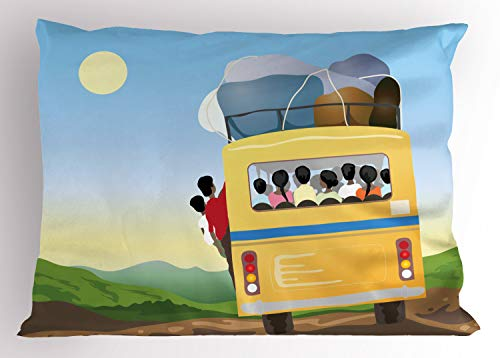 ABAKUHAUS Karikatur Kissenbezug, Überfüllten gelben Bus, Dekorativer Standard Queen Size Gedruckter Kissenbezug, 75 x 50 cm, Mehrfarbig -