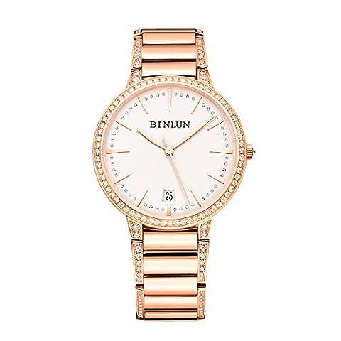 Binlun Elle et Lui Cadeau Amant montres étanche Doré ultrafin automatique montre pour homme avec date Diamante Band