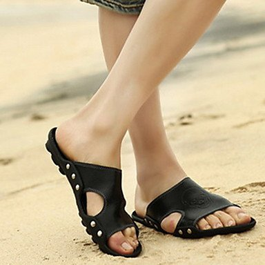 Herren Schuhe schieben flachem Absatz Leder Sandalen Schuhe Weitere Farben Schwarz