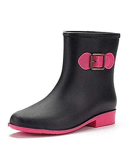 Minetom Women Mid-Calf Buckle PVC Rain Boots Ladies Anti-Slip Rain Shoes Martin Rainboots Slip Resistant Waterproof Flat Black UK
