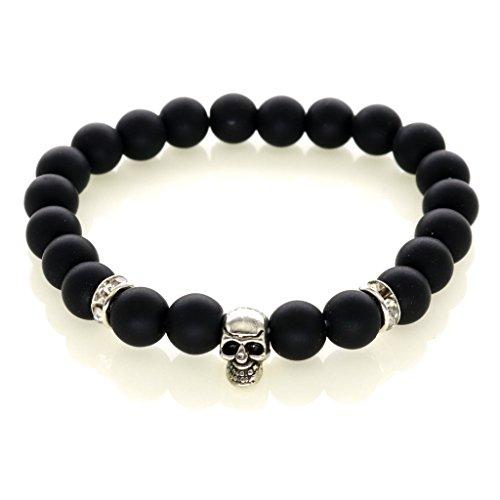 bracelet-skull-perles-noires-mates-kustom-factory