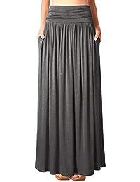 3094ad375b DJT Women's Pleated High Waist Stretchy Plain Jersey Flared Swing Pocket  Long Maxi Skirt