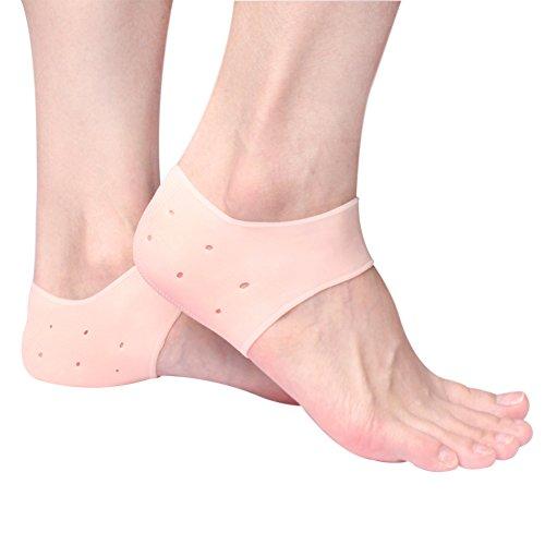 Silikon-Fersenschutzhülle - Feuchtigkeitsspendende Gel-Füße Fersensporn-Pads Socken zur Linderung von Fersenschmerzen und Plantarfasziitis - 1 Paar -