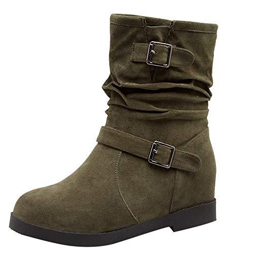 Damen Stiefel Wildleder Schneestiefel,Sunday Frauen Schlupfstiefel Schuhe Retro Biker Boots Flache Stiefel Warme Winter Schuhe Gute Qualität (38 EU, Grün)