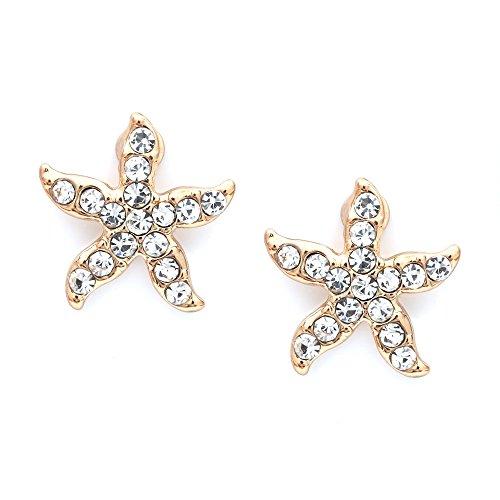 Idin Jewellery Ohrclips, Kristall-Seestern, Goldfarben