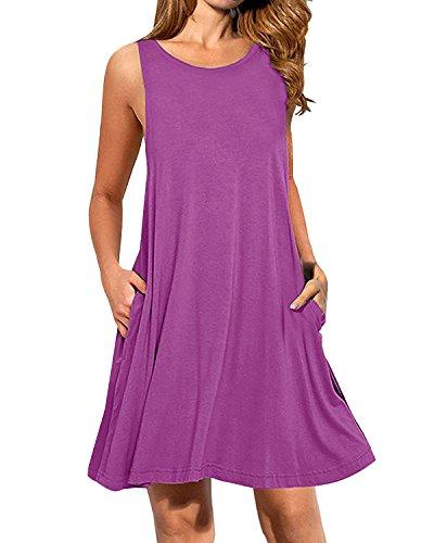 Kidsform Damen Sommer- Ärmellos S Taschen Beiläufige Schwingen T-Shirt-Kleid Short Mini Size XL lila
