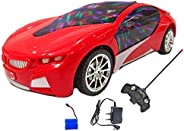 Popsugar Light Up Rechargeable Sports Racing Car with Remote Control and Flashing LED Lights for Kids, Red