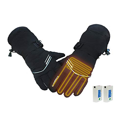 Biddtle guanti riscaldati ricaricabili per uomo donna,alimentato a batteria elettrici termici invernali antivento guanto scaldamani per artrite moto escursionismo sci ciclismo caccia,nero,xl
