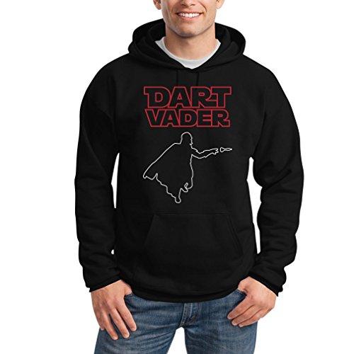 Dart Vader - Witziges Motiv für Darts Fans Kapuzenpullover Hoodie Large Schwarz