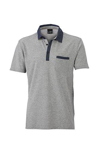 JAMES & NICHOLSON Melange Polo mit trendigen Jeans-Details grey-melange/dark-denim