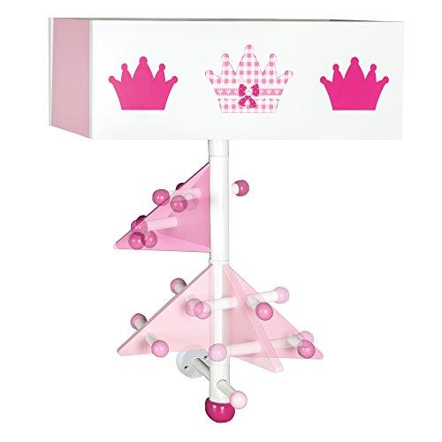 roba Kinder-Garderobe 'Krone' aus Holz, rosa lackiert und bedruckt, zur Beferstigung an der Wand, mit 9 Haken und 2 Fächern