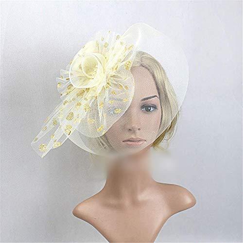 KERVINFENDRIYUN YY4 Federschmuck Schleier Hut Top Haarspange Kopfbedeckung Netzmaterial Halloween Kopfbedeckung (Farbe : White)