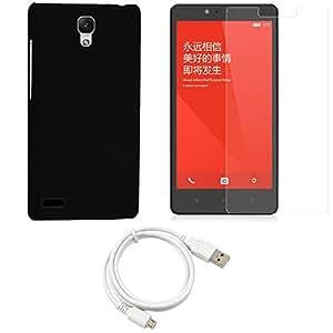 NIROSHA Tempered Glass Screen Guard Cover Case USB Cable for Xiaomi Redmi Note - Combo