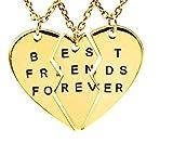 EVRYLON Collar corazón Mitad Collar de la Amistad para Tres Mejores Amigos con inscripción Forever Preciosa Idea Regalo para Mujer