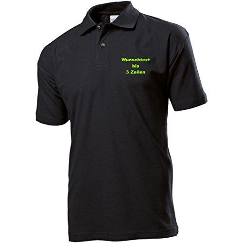 Stedman Polo-Shirt Polohemd bestickt mit Name / Wunschtext / Spruch Wunschstickerei ideal für Verein / Firma / Club Black Opal