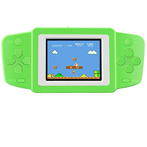 """ZHISHAN Handheld Spielkonsole Retro Tragbare Spiele Konsolen inkl. 268 80er Klassische Vintage Video Spielen 2.5 \""""LCD HD Bildschirm Arcade Erholung System Geburtstagsgeschenk für Kinder (Grün)"""