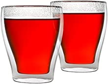 Café de/vasos de té, GC001, Juego de 2, doble pared, aislantes, resistente al calor, 0,28l