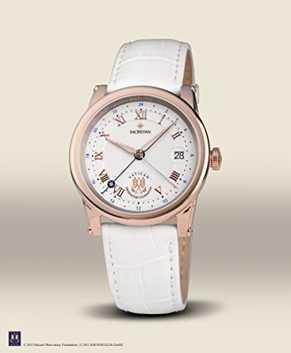 Vatican Observatory Foundation – 7203 – Ladies Watch – Analogue Quartz – White Dial – White Leather Bracelet