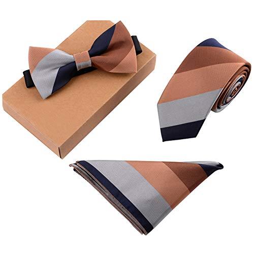 Chinashow Modische Premium Formale/informellen Krawatten Set, Krawatte/Fliege/Einstecktuch für Herren/Jungen, Braune Streifen -