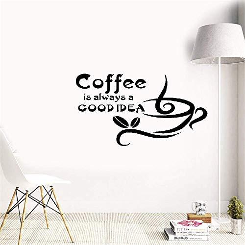 Wandaufkleber Schlafzimmer Kaffee ist immer eine gute Idee Zitat Tasse Kaffeebohnen Wohnzimmer Küche Home Decoration