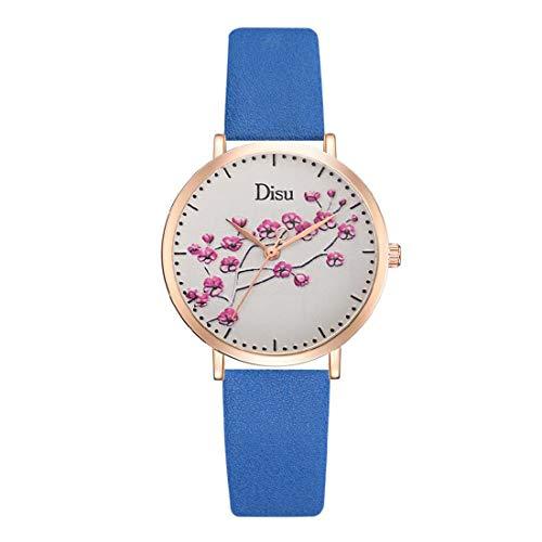 YFYF Damen-Armbanduhr Plum Dial-PU-Bügel-Quarz-Frauen-Uhr-Plum-Quarz-Uhr beobachten,Blue-OneSize -