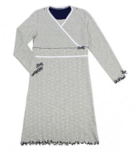 La-V Mädchen Nachthemd langarm grau melange/Größe 92-98