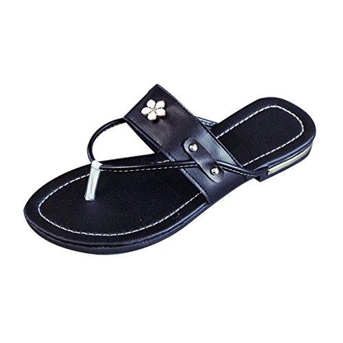 Hunpta Sommerstrand Frauen Schuhe Blume flachen Sandalen rutschfeste Hausschuhe Sandale Schwarz
