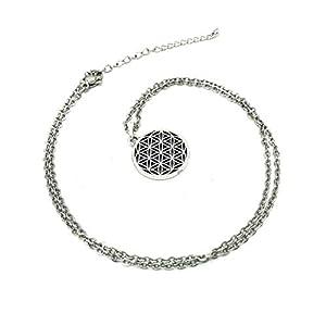 Halskette FLOWER OF LIFE Edelstahl Blume des Lebens Kette mit Anhänger 45 cm + 5 cm Verlängerung