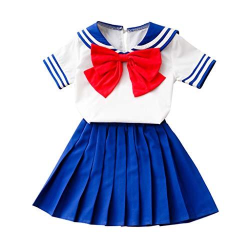 Baby Body Kinderkleidung Jungen Mädchen, YanHoo Kleinkind Kinder Mädchen Outfits Bowknot T-Shirt Tops + Kurzer Rock Mädchen College Wind Splicing Kurzarm 2 Stück