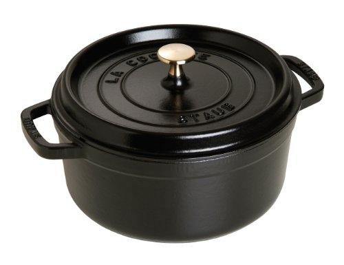 Staub 1102425 - Cocotte redonda, color negro mate, tamaño 24 cm