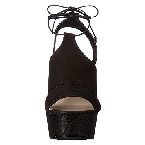 Damen Peep Toe Sandalen High-Heel Keilabsatz Knöchelriemchen Slingback mit Plateau Schwarz