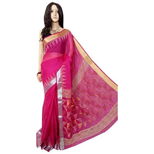 ETHNIC EMPORIUM Indisches ethnisches Leinen Jamdani Saree Sari Magenta Colored Fancy Damenkleid 100a -