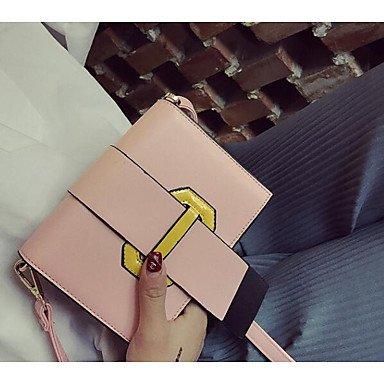 SUNNY KEY-Borsa a tracolla @ Donna Borsa a tracolla PU (Poliuretano) Per tutte le stagioni Casual Cerniera Bianco Nero Rosa , blushing pink white