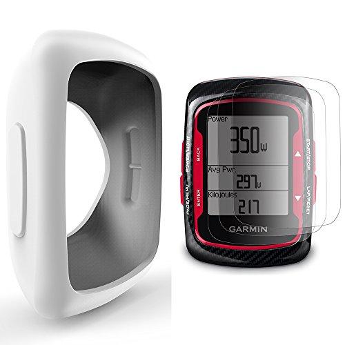 Garmin Edge 200 500 Silikon Schutzhülle + Display Schutz, TUSITA® Ersatz Schutz Bundle Soft Cover Case Lanyard Zubehör für Garmin Edge 200 500 GPS Fahrradcomputer (WEISS)