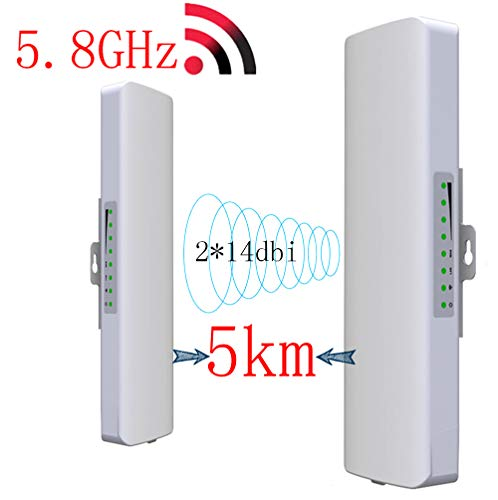 SHENGY 2-Pack 5.8G Wireless Outdoor-WLAN-CPE-Netzwerk-Brücke, 300Mbps WiFi Repeater, 5km Long Range Signalempfänger, 2 * 14dbi Antenne Booster, für PTP, PTMP-Anwendung (WDS)