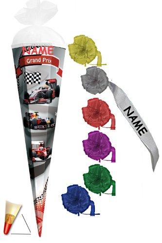 Unbekannt Schultüte - Grand Prix - 22 cm - incl. Namen und individueller Schleife mit Tüllabschluß - Zuckertüte Roth Auto Rennwagen Autos Formel 1 Ferrari