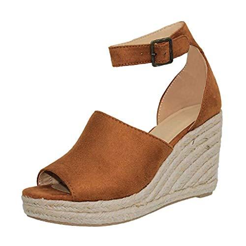 Buckle Mule Sandals (Damen Wedges Sandals Buckle Plattform Knöchelriemen Sandalen Fischmaul Keilabsatz Lady Keilabsatz Atmungsaktiver Keilpumps Plateauschuhe Schuh Absatzschuhe (Brown,35 EU))